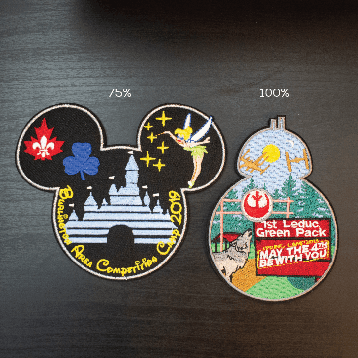 "Badge Coverage example. Left is ""Burlington Area Competition Camp Disney Themed shaped like mickey mouse ears"" 75% coverage and right is""1st Leduc Green Pack Star Wars themed"" shaped like BB8 100% coverage"