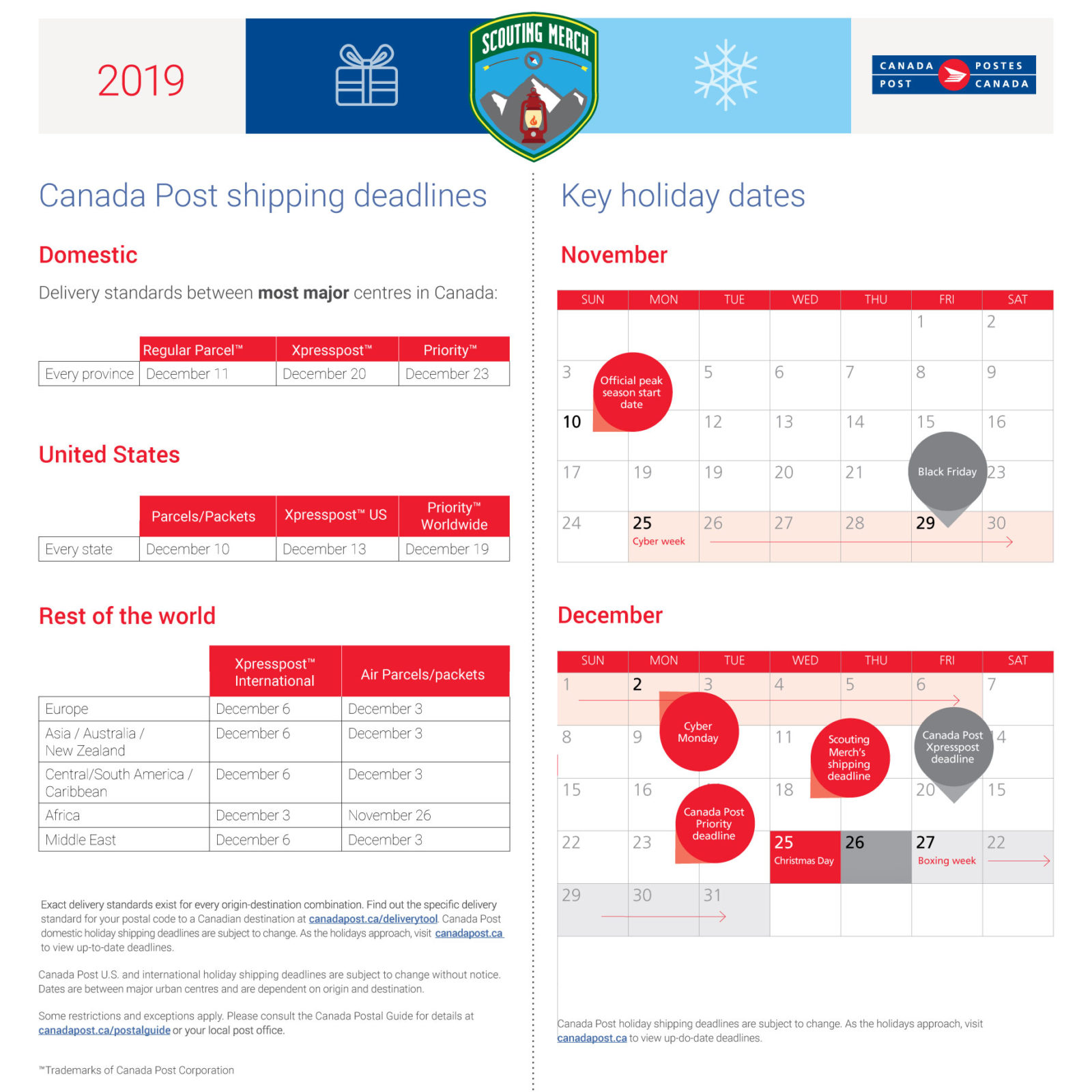 Canada Post Key Holiday Dates 2019, includes Canada, US and Internationally graphics and two calendars with visual tags.